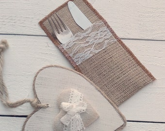 Burlap Cutlery Holder -  Burlap Silverware Sleeve - Burlap Cutlery Pocket - Wedding Table Decor - Flatware Holder - Choose Qty