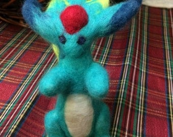 Felted Carbuncle Art Doll