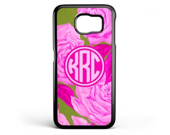 Samsung Galaxy S6 Phone Case floral Roses Phone Case - Cell Phone Monogram - Monogram Gifts for Women - Galaxy S5 Case FCM-192