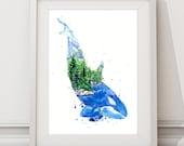Kasatka / Orca Killer Whale Ocean & Forest  Spirit Animal - Giclee Art print - Coastal Watercolor Painting - Home decor Wall Art 8x10 11x14
