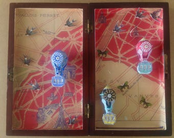 Vintage Wooden Box with Paris Map, Hot Air Balloon Diorama, Swallows and Butterflies