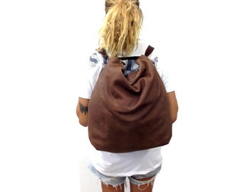 Sale!! Extra large leather backpack Crossbody backpack purse convertible woman bag Distressed Brown leather hobo bag