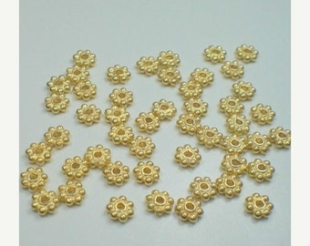 20% OFF SALE Thirty (30) BALI .24K Gold Vermeil over 925 Sterling Silver 3.5mm Shiny Daisy Spacer Beads