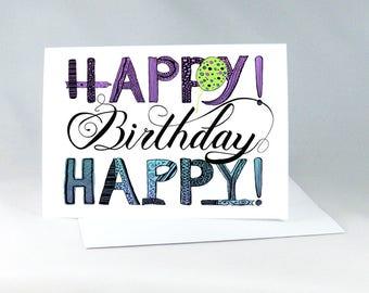 Hand Drawn Birthday Card, Birthday Card for Friend, Purple Birthday Card, Handdrawn Birthday Card, Happy Birthday Note, Handdrawn Card 1133