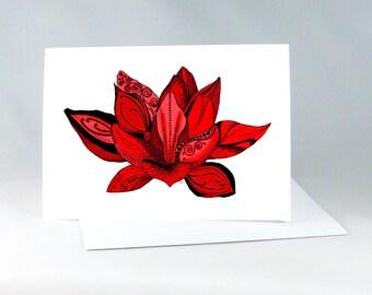 Spiritual Card, Lotus Flower, Lotus Yoga Card, Yoga Art Card, Yoga Art, Lotus Flower Drawing, Yoga Wall Art, Zentangle Lotus Art Card 1114FN