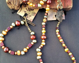 Multi colored Fresh Water Pearl and Tiger Eye Necklace, Bracelet