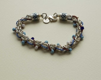 Silver 925 bracelet with coloured beads