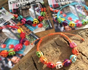 Childs Hand Knotted Skull Bracelet / Macrame Boys Kids Bracelet