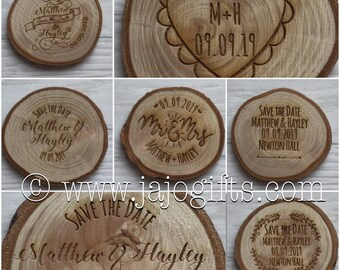 Personalised engraved save the date wooden log slice