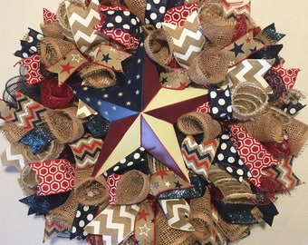 Patriotic wreath, 4th of July wreath, 4th of July, Memorial Day wreath, Memorial Day, Fourth of July wreath, Fourth of July, Patriotic decor