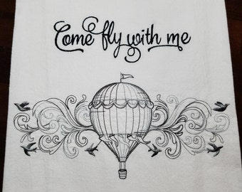 Come Fly With Me Embroidered Flour Sack Towel