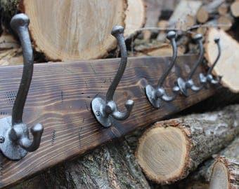 Rustic Coat Rack / Barnwood Coat Rack / Farmhouse Coat Rack / Distressed Wood / Shabby Chic / Country Farm / Coat Hook / Entryway Coat Rack