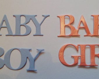 Die Cut Baby Boy/Baby Girl Wording x 10 sets 5 of each in Pink and Blue