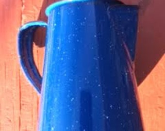 Creamer: Antique - Blue Speckled metal Creamer - Small Pitcher - 5 '' Tall