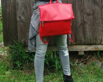 Red faux leather backpack. Backclutch. Minimalist backpack. Red backpack. Fashion backpack. Free Shipping