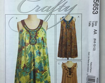 McCall's Crafty M5653 Misses Dress Loose Fitting Boho Style Pattern Size 6,8,10,12