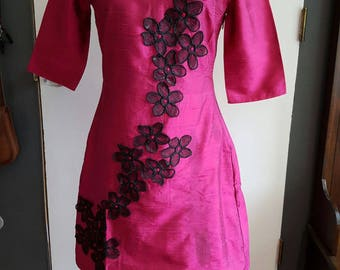 Wine Silk Dress with Black Embroidery