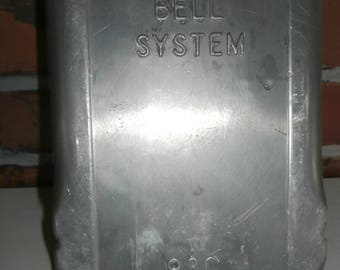 Vintage telephone Bell systems outdoor phone box cover aluminum industrial emergency rotary phone box advertising
