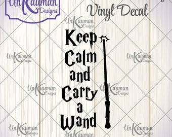DIY...Iron On Heat Transfer Vinyl Decals Harry Potter Inspired Keep Calm and Carry A Wand Decal