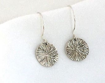 Round Textured Disc Earrings  Sterling Silver \Silver Dangle Earrings \ Earrings for Women \ Silver  Earrings