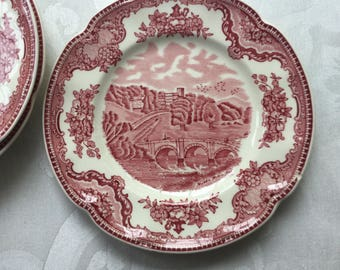 """Set of 4 Johnson Bros 6 1/4"""" bread/dessert plate Haddon Castle Red/ Pink Old Britain Castles Pattern; Made in England"""