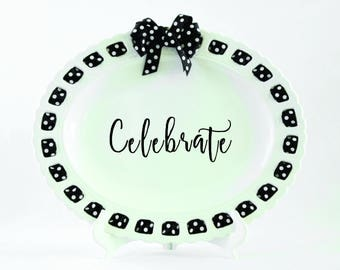 Celebrate Platter Prissy Plate Serving Tray Ribbon Plate Wedding Gift Housewarming Oval Platter Personalized Platter Home Decor