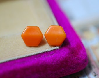 Vintage Hexagon Orange Glass Set of 2 Buttons