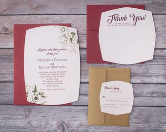 Custom Wedding Invitation, Reply, and Thank You Set with foil and shape options - 25 pack