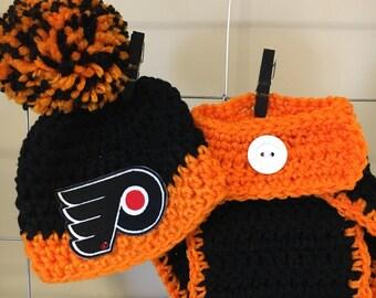 Philadelphia Flyers hat, newborn Philadelphia Flyers hat and diaper cover, Philadelphia Flyers baby photo prop, Flyers baby gift