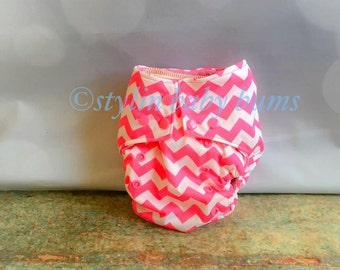 One size AI2 all in two cloth diaper for baby girl in pink chevron- FREE SHIPPING