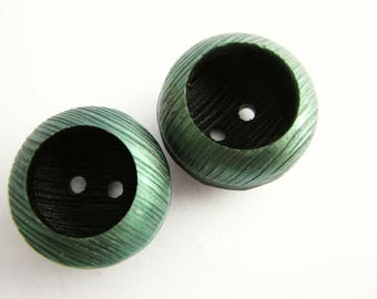 2 green and black buttons, big cup buttons, unused 1960s vintage buttons, 28 mm