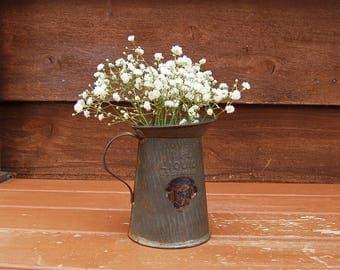 Small Tin Pitcher, Vintage Dover Tinware Pitcher, Tin Vase, Savory 1 Pt. Liq Pitcher, Vintage Metal Jug