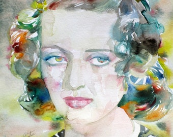 BETTE DAVIS - original watercolor portrait - one of a kind!