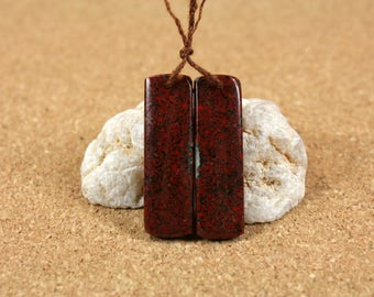 Fossilized Dinosaur Bone Earring Pair -Red and Black Smooth Shiny Puffy Rectangle Matched Pair