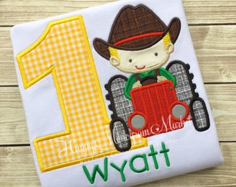 Farm Theme Tractor Boy and Birthday Number Shirt Applique shirt bodysuit monogrammed personalized