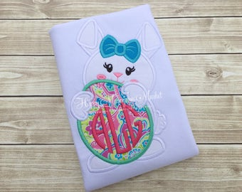 Girls Easter Bunny Rabbit holding monogrammed Egg Matching Siblings First Easter Egg Hunt Top Shirt TShirt Bodysuit Embroidery Applique
