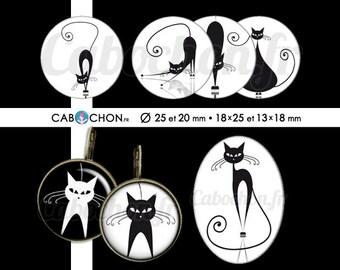 Chat noir Chat blanc •  60 Images Digitales RONDES 25 et 20 mm OVALES 18x25 et 13x18 mm silhouette ombre cat page cabochon cabochons bijoux