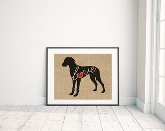 Great Dane With Natural Ears - Burlap Wall Art Gift for Dog Lovers - Personalize Silhouette w/ Name - More Breeds (101s)