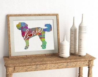 Labradoodle / Goldendoodle Love - A Colorful Watercolor Print for Dog Lovers - Dog Breed Gift - Can Be Personalized With Name - Pet Memorial