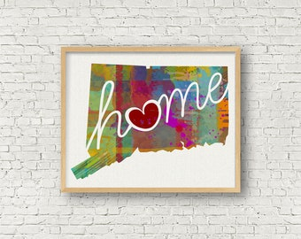 Connecticut Love - CT - Colorful Watercolor Style Wall Art Hanging & State Map Artwork Print - College, Moving, Engagement, and Shower Gift