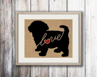 Maltipoo / Maltese / Poodle Mix Breed - Burlap Dog Breed  Home Decor Print - Gift for Dog Lovers - Can Be Personalized with Name (101s)