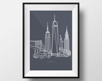 New York City Illustration Print
