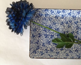 Blue and White Tray Ceramic Floral Print