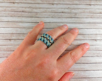 Beaded ring for her Statement ring Boho ring  Bead ring Everyday ring gift Band ring Wide ring Geometric ring Blue ring Brown ring