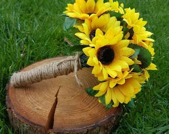 Sunflower and twine artificial rustic wedding bride/ bridesmaid bouquet