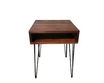 Walnut mid century modern end tables, End Table for Living Room, Table in Custom Size, Free Shipping