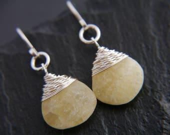 Yellow Calcite, Teardrop Earrings, Sterling Silver Earrings, Wire Wrapped Jewelry, Gemstone Earrings, Briolette Earrings, Minimalist, Boho