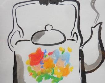 ORIGINAL sumi-e and pastel teapot, original painting, gift