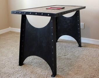 Modern Industrial Office Desk | Steampunk Table | Riveted Table | Homework | Rustic