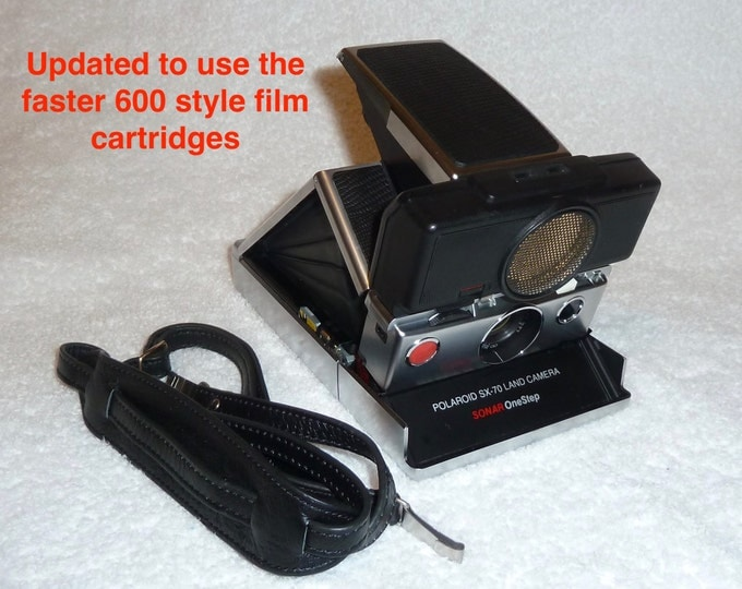 Rebuilt Polaroid SX70 Autofocus - Updated to use 600 Film Cartridges - New Neck Strap and update with New Black Reptile Etched Skins